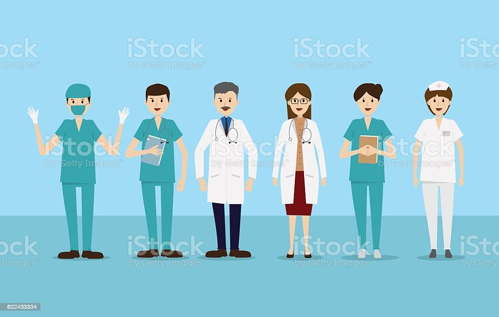Group doctors nurses staff people medical team flat character set. vector art illustration