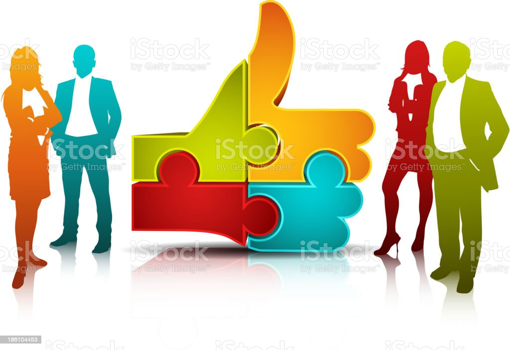 Group graphic of office people and icon of puzzle pieces royalty-free stock vector art