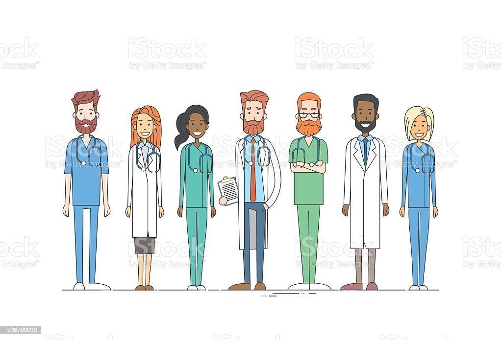 Group Medial Doctors Team Work Thin Line vector art illustration