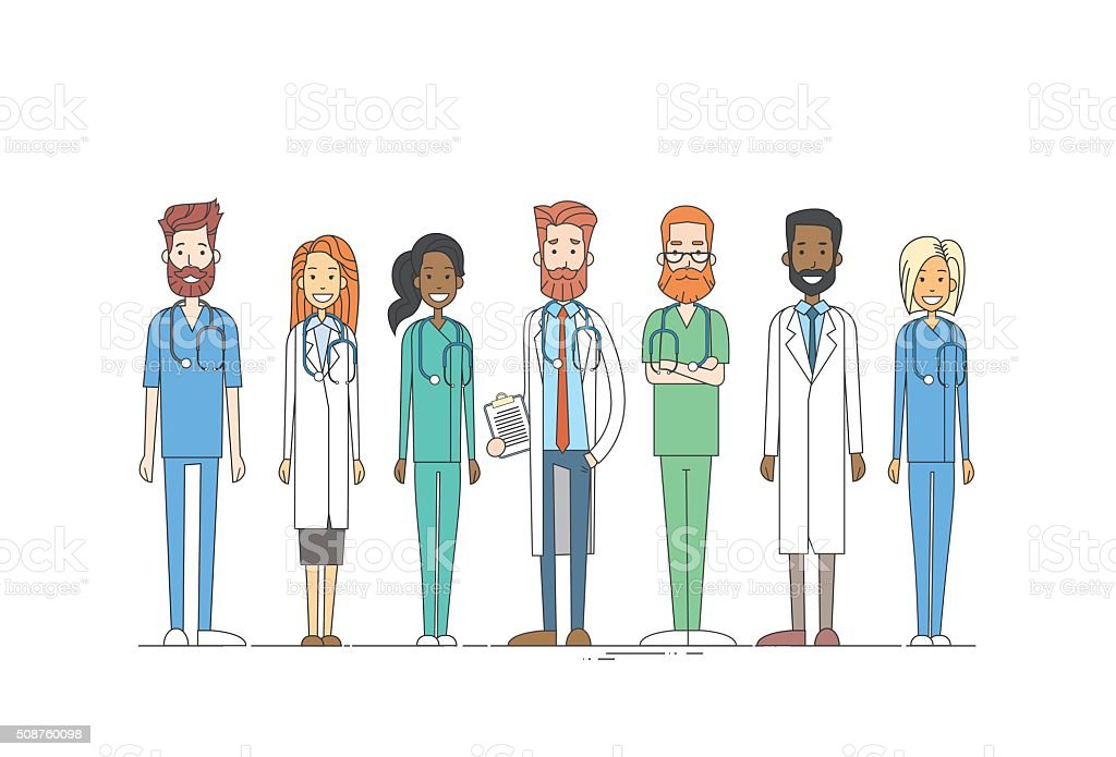 Group Medial Doctors Team Work Thin Line vector art illustration