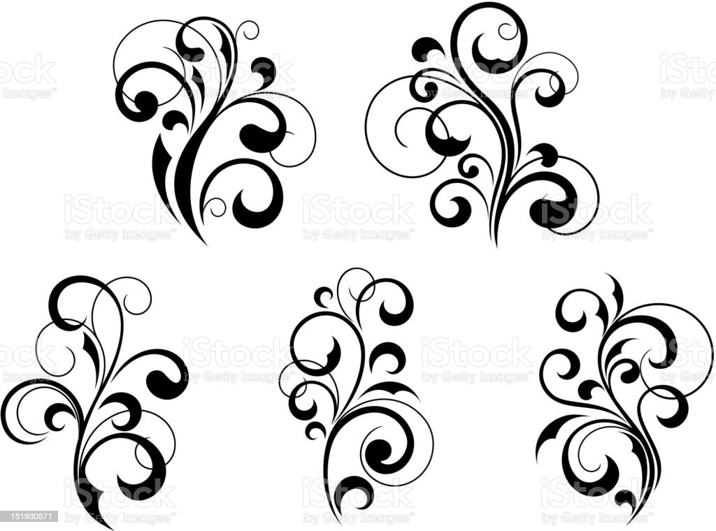 Group of 5 similar floral embellishments royalty-free stock vector art
