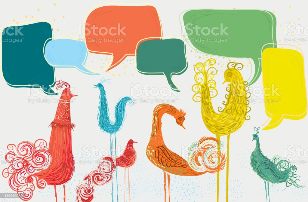 Group of abstract birds with speech bubbles vector art illustration