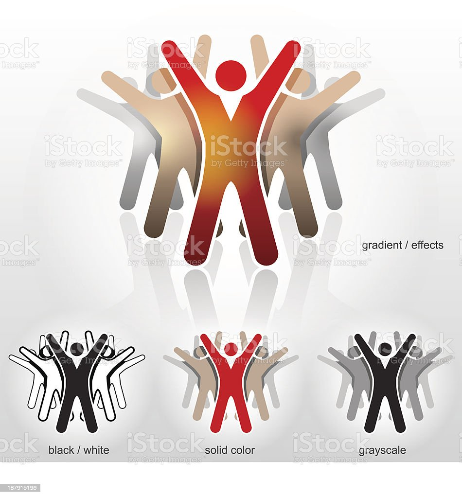 Group of abstract people with their hands up. vector art illustration