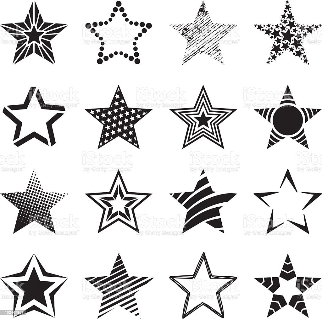 Group of black and white patterned star icons vector art illustration