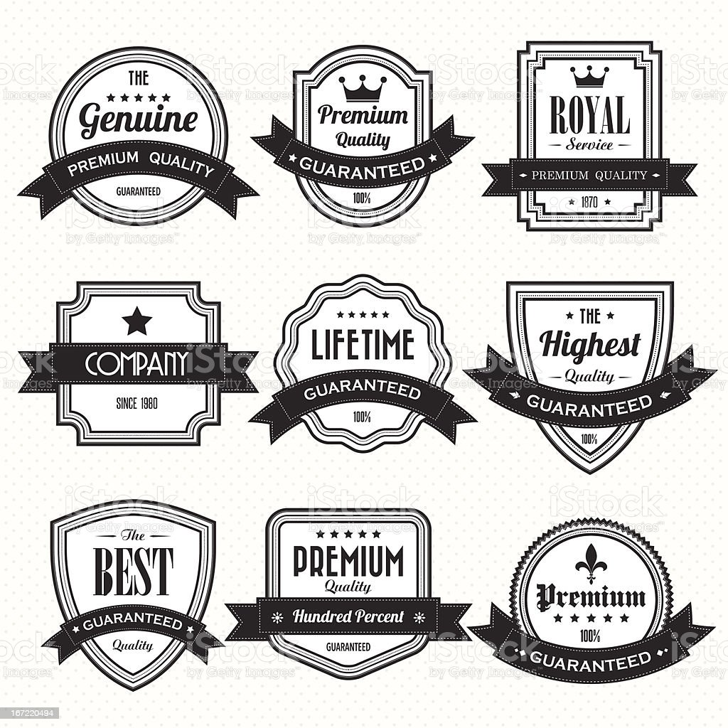 Group of black and white quality labels royalty-free stock vector art