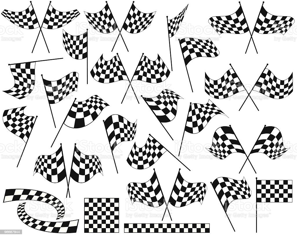 A group of black and white racing flags vector art illustration