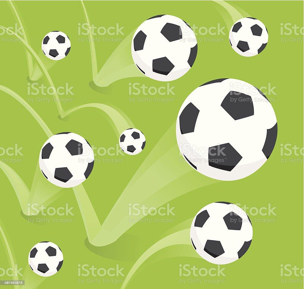 Group of bouncing soccer balls vector art illustration