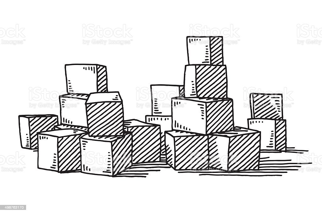 Group Of Building Blocks Drawing vector art illustration