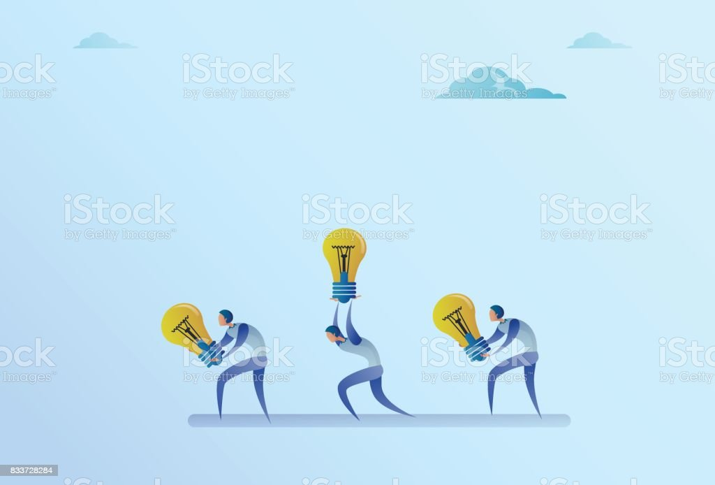 Group Of Business People Carry Light Bulbs New Idea Concept vector art illustration