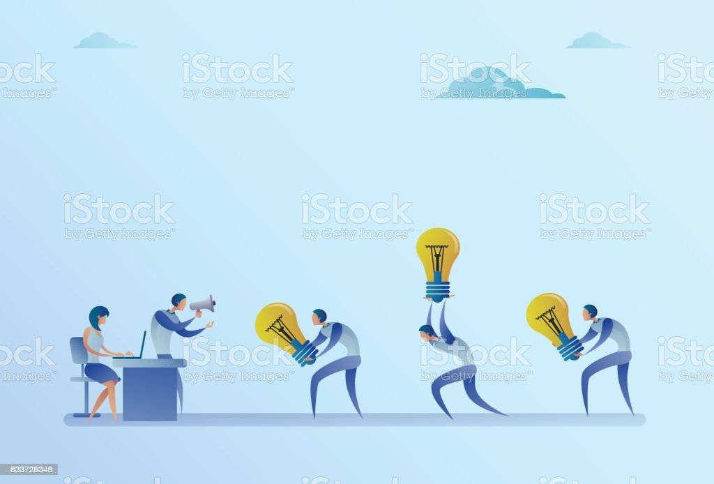 Group Of Business People Carry Light Bulbs To Manager Holding Megaphone New Idea Concept vector art illustration