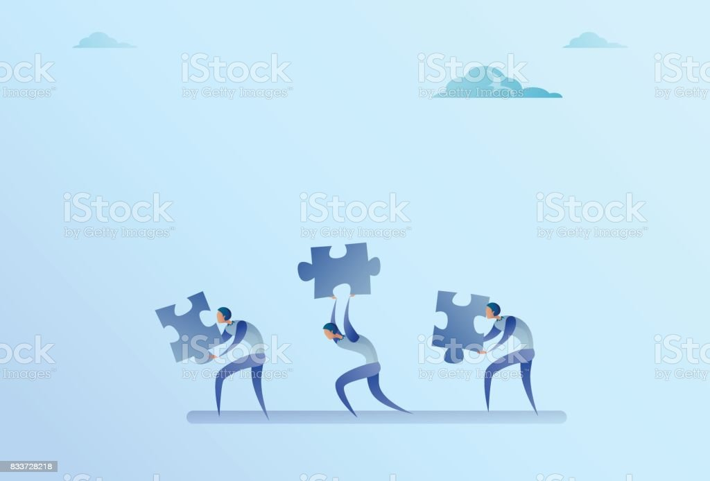 Group Of Business People Carry Puzzle Parts Teamwork Cooperation Concept vector art illustration