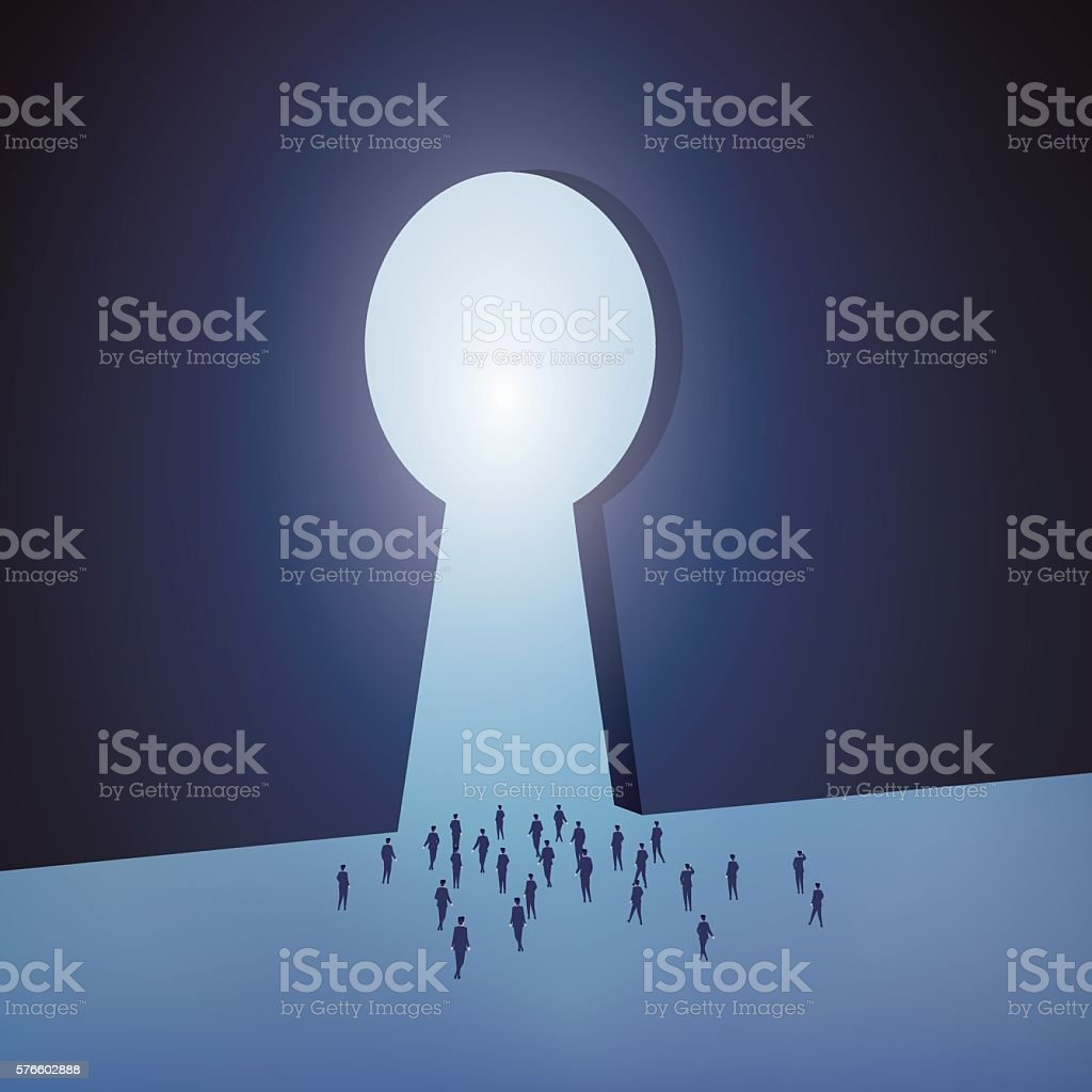 Group of business people into the unknown vector art illustration