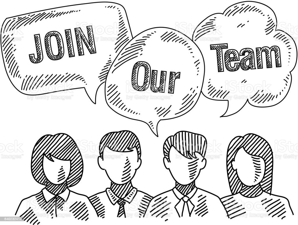 Group of Business People requesting Join Our Team Drawing vector art illustration