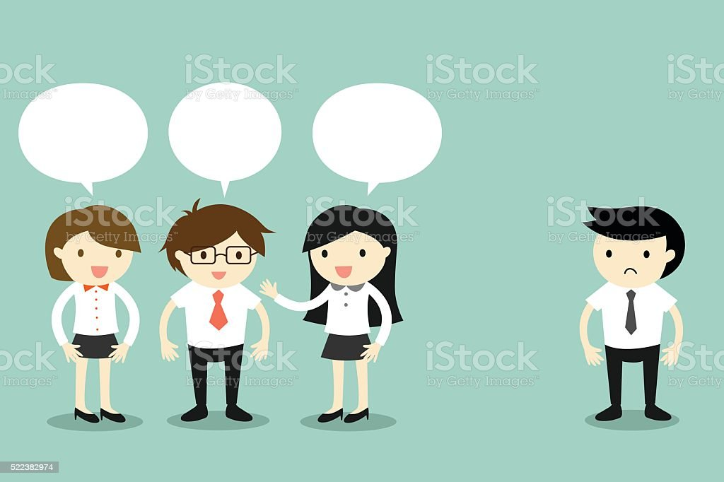 Group of business people talking, but another man standing alone. vector art illustration