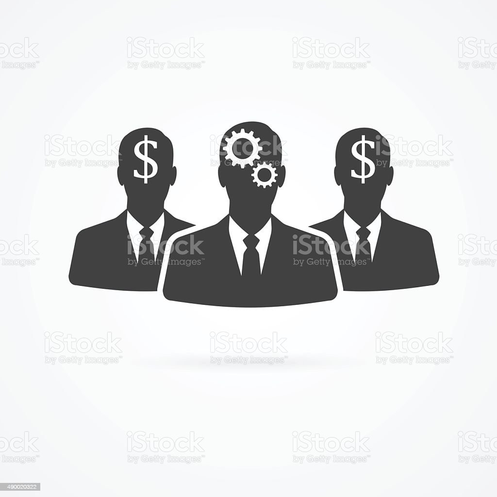 Group of businessmen with gear and dollars in heads icon. vector art illustration