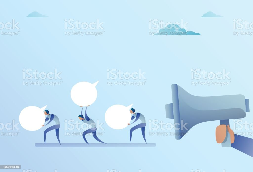 Group Of Businesspeople Hold Chat Bubble From Business Man Boss Hand With Megaphone vector art illustration