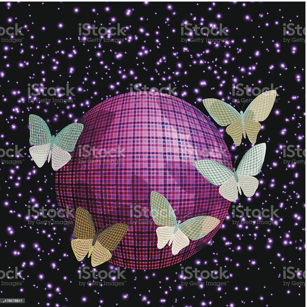 Background image 8841 - Group Of Butterflies Near The Ball On A Brilliant Background Royalty Free Stock Vector Art