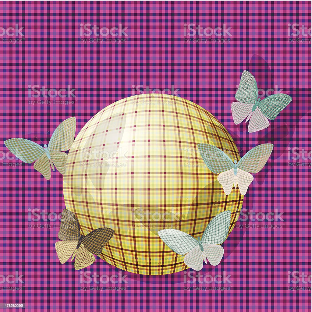 group of butterflies near the ball on the background fabric texture royalty-free stock vector art