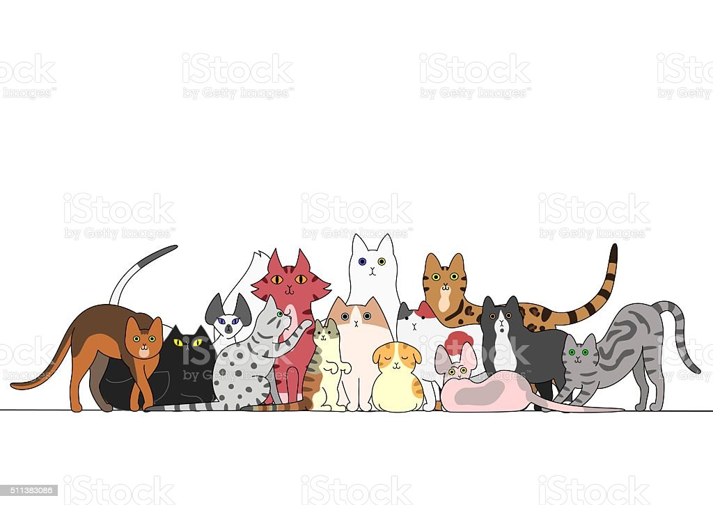 Group of cats vector art illustration