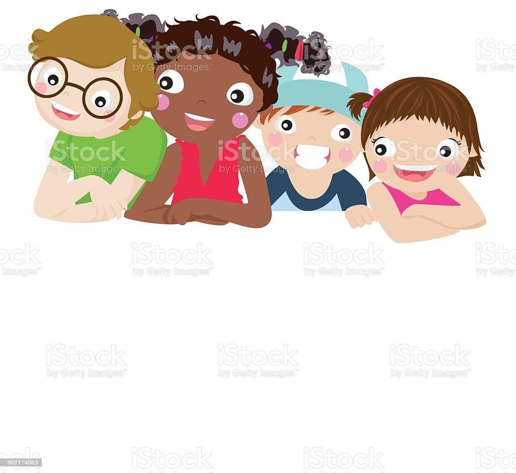 Group of children and banner vector art illustration