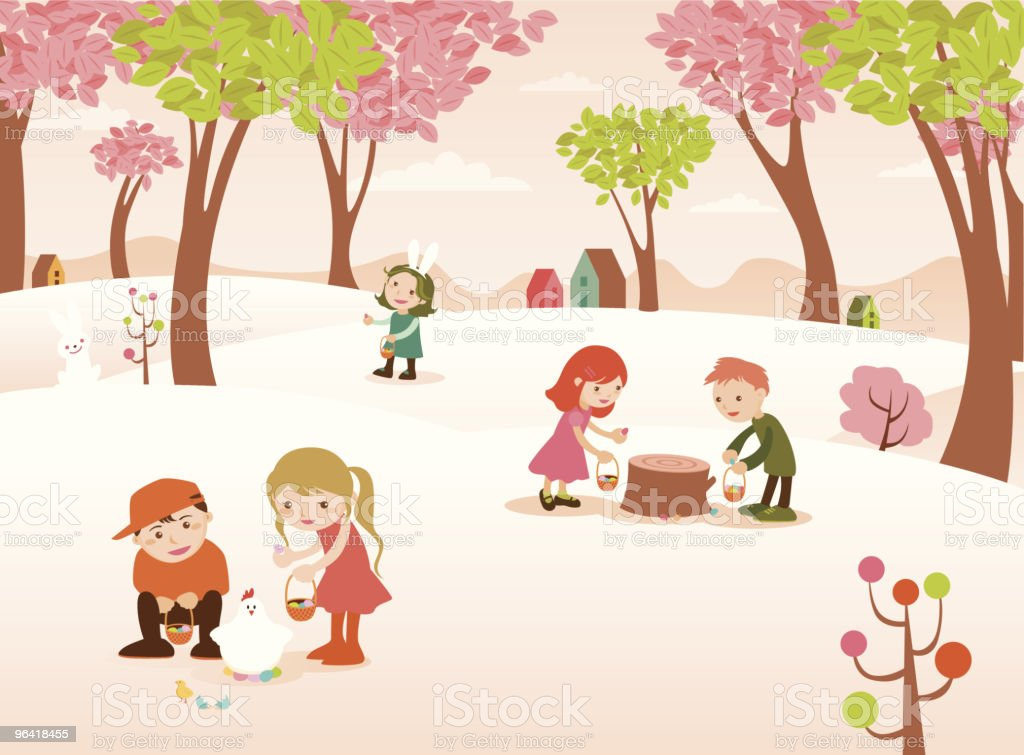 Group of Children Finding Easter Eggs in Colorful Forest vector art illustration