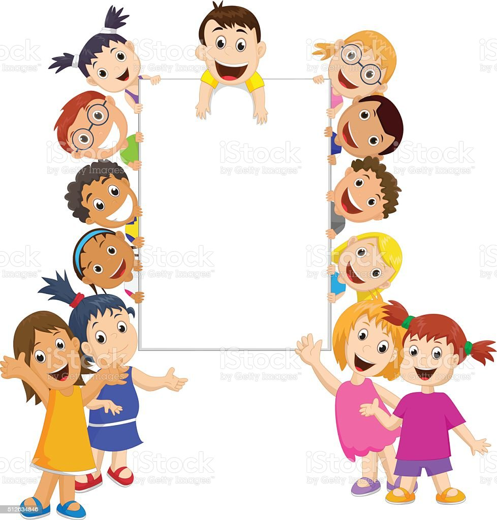 group of children holding and showing a blank sign vector art illustration