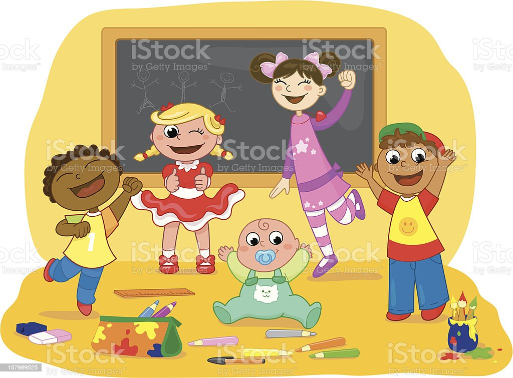 Group of children in a school class royalty-free stock vector art