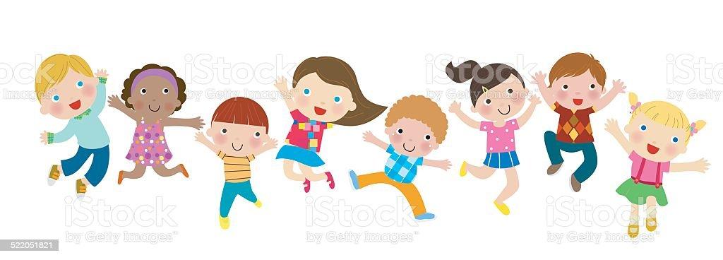 Group of Children Jumping vector art illustration