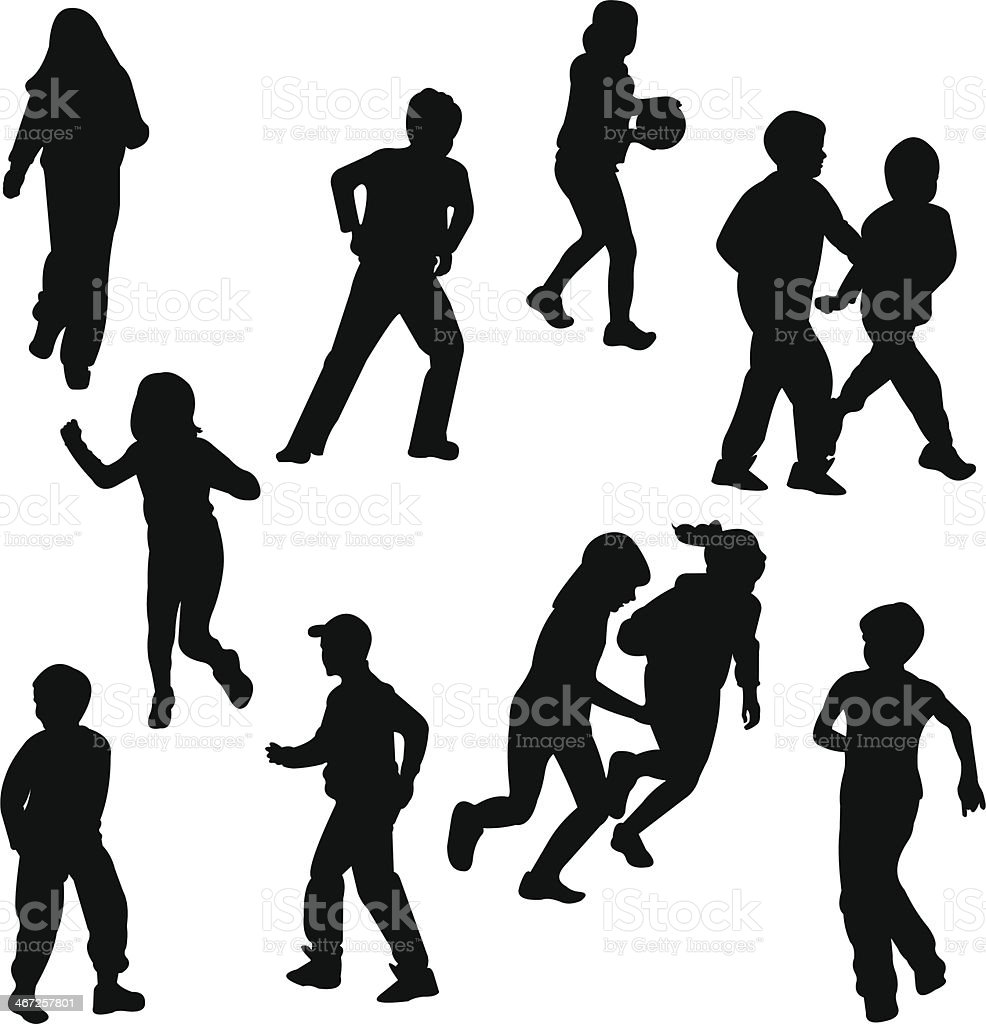 Group of children on the move silhouettes vector art illustration