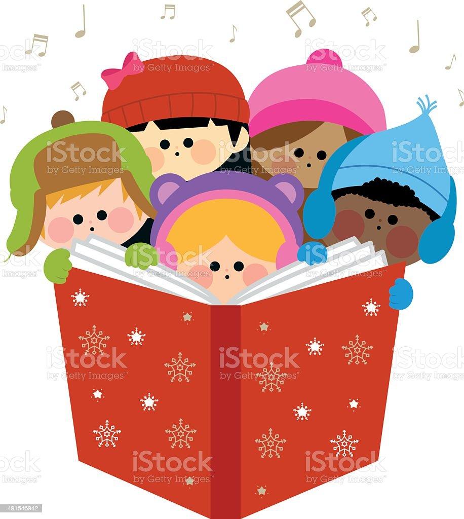 Group of children singing Christmas carols vector art illustration