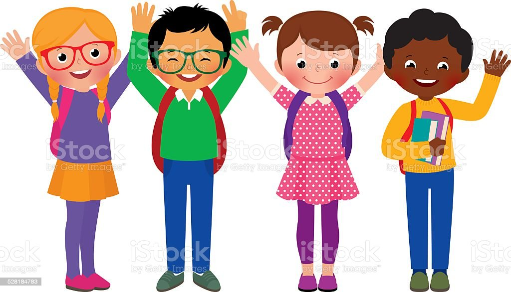 Group of children students vector art illustration