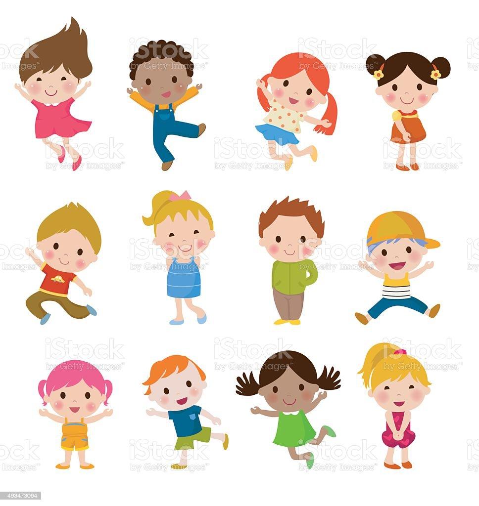 Group of children vector art illustration