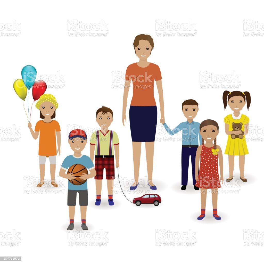 Group of children with toys and kindergarten teacher standing together. Preschool education concept. vector art illustration