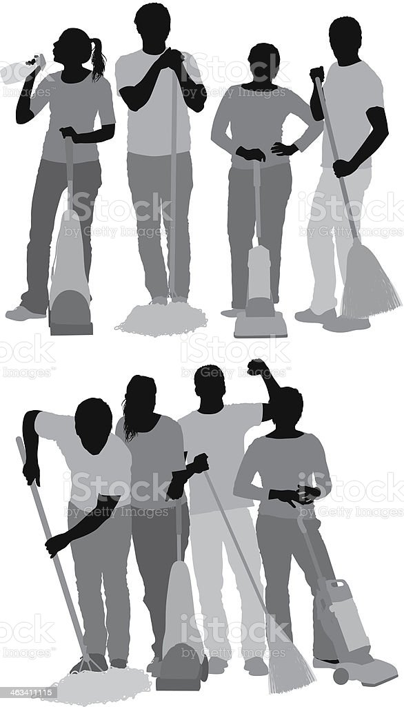 Group of cleaners vector art illustration