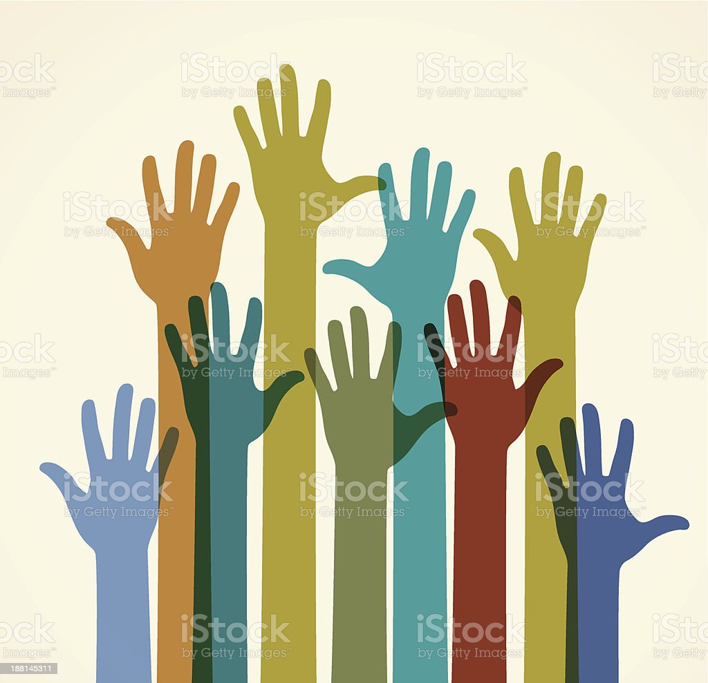 Group of colored raised hands vector art illustration