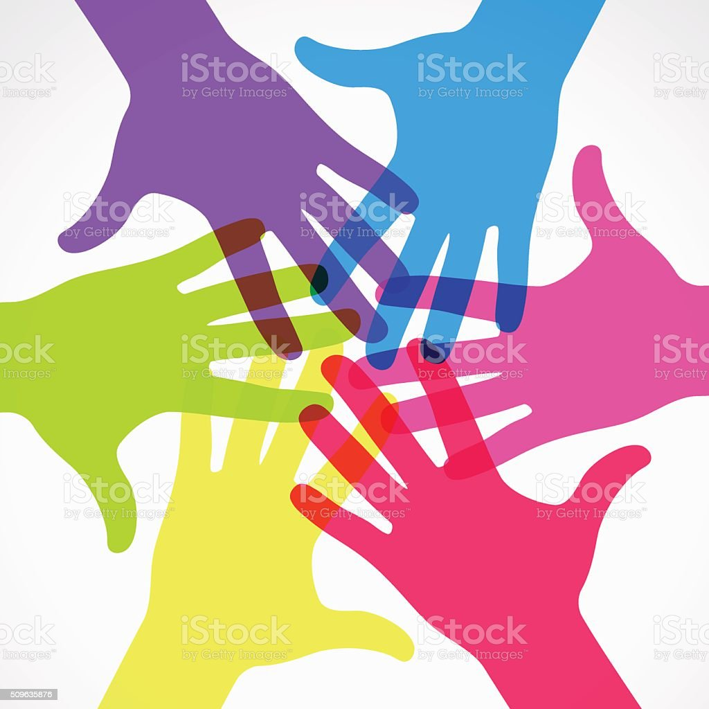Group of colored raised hands. vector art illustration