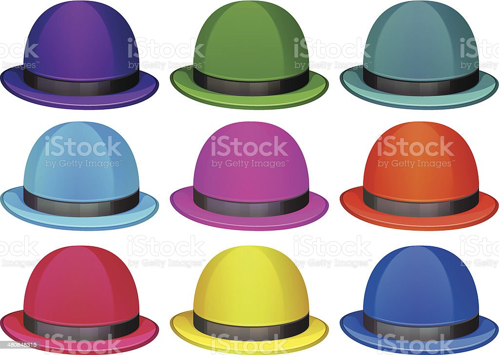 Group of colorful hats vector art illustration