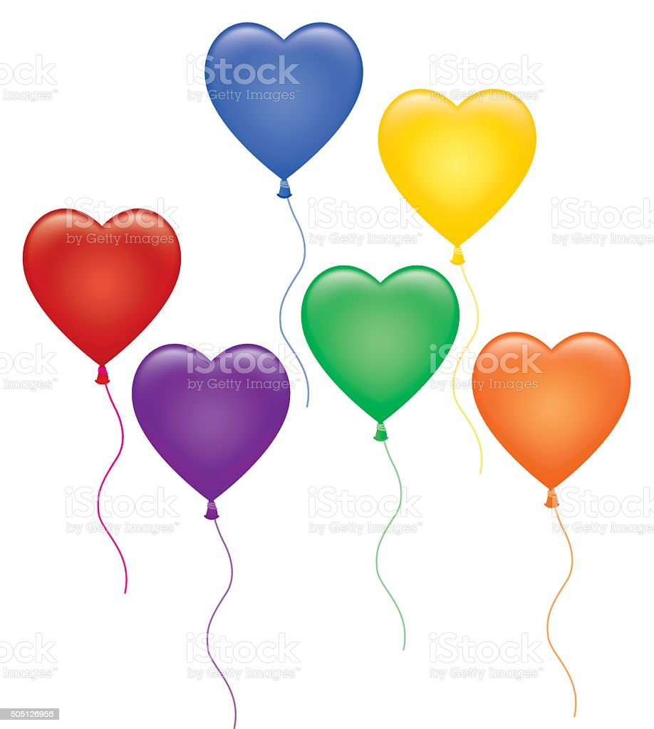 Group Of Colorful Heart Ballons vector art illustration