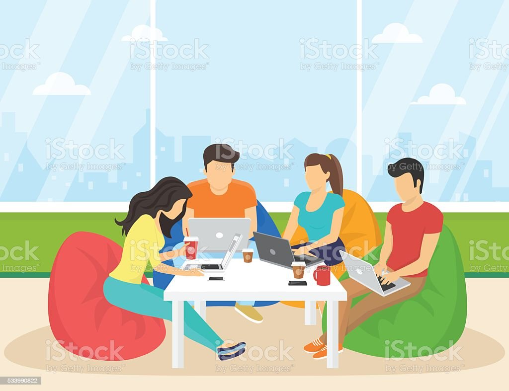 Group of creative people using smartphone, laptop sitting in the vector art illustration