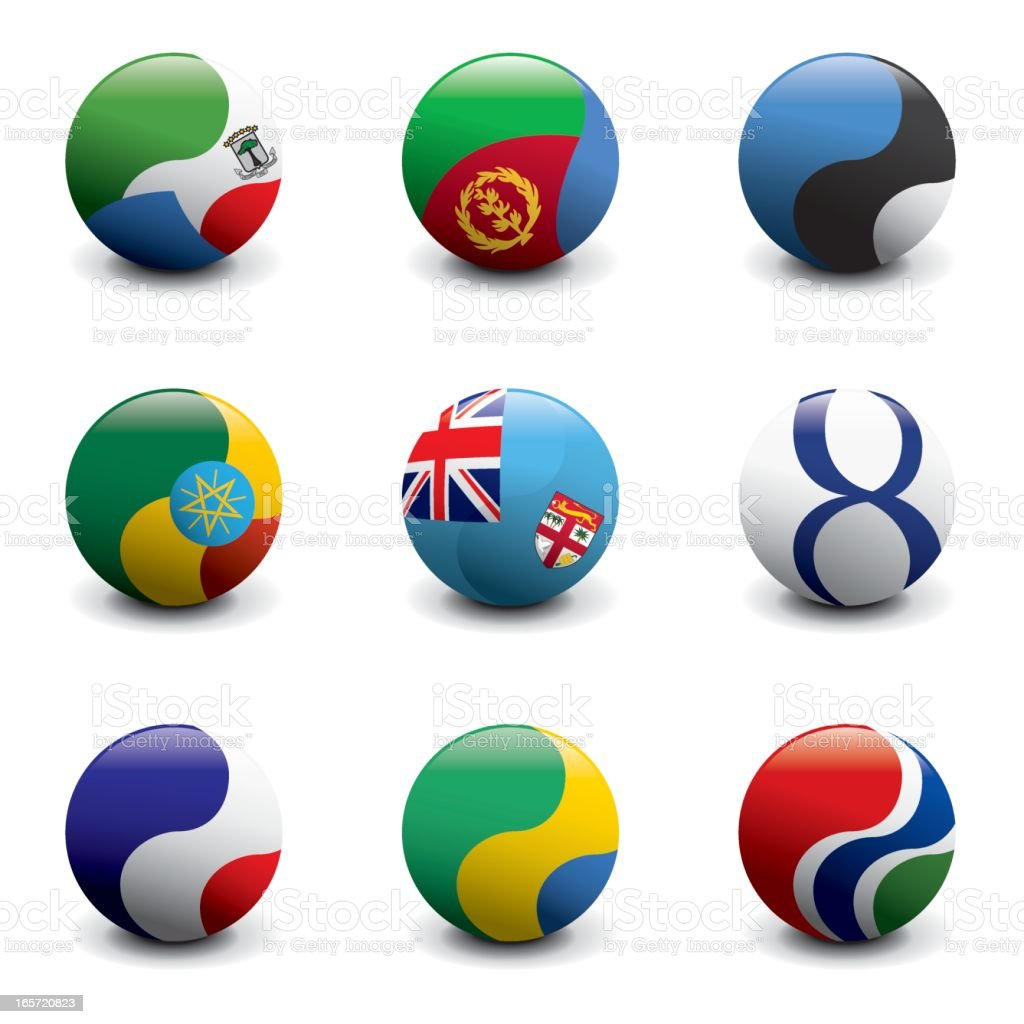 Group of Crystal Ball Flags vector art illustration
