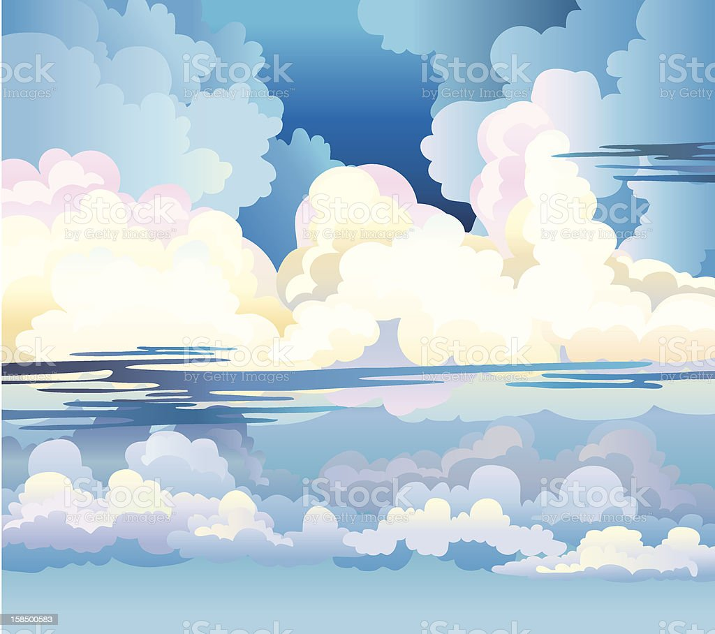 Group of cumulus clouds vector art illustration