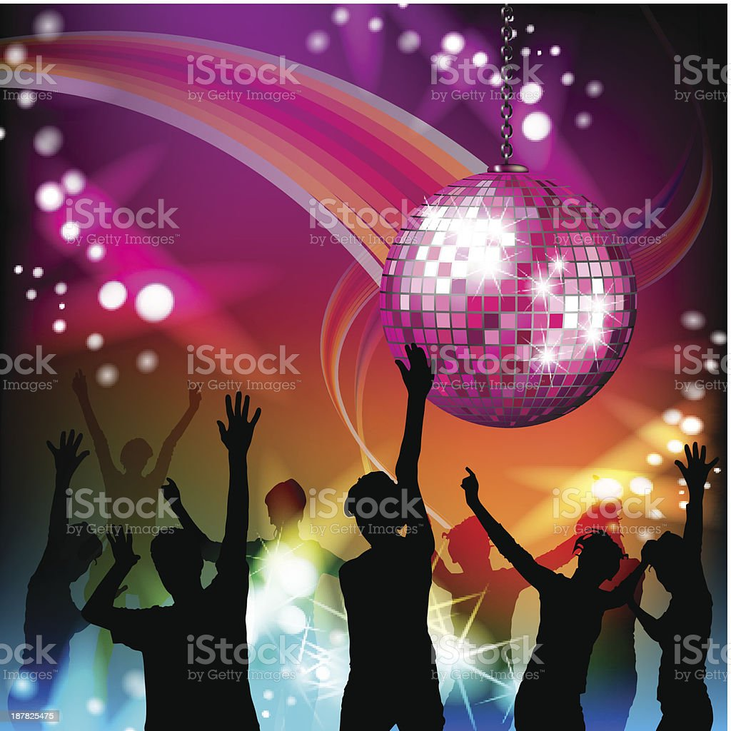 Group of dancers at a club underneath a disco ball royalty-free stock vector art