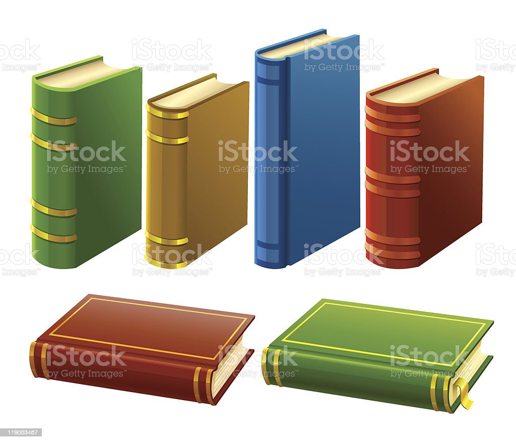group of different books with empty cover royalty-free stock vector art
