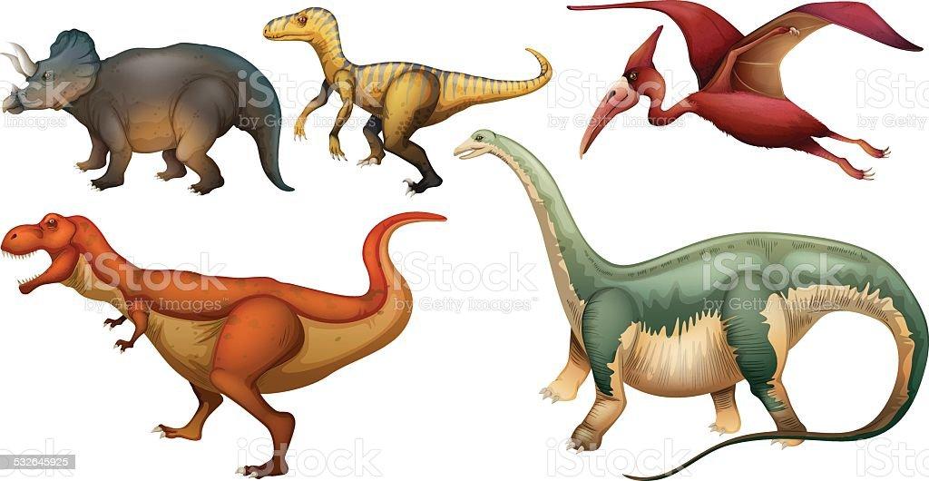 Group of dinosaurs vector art illustration