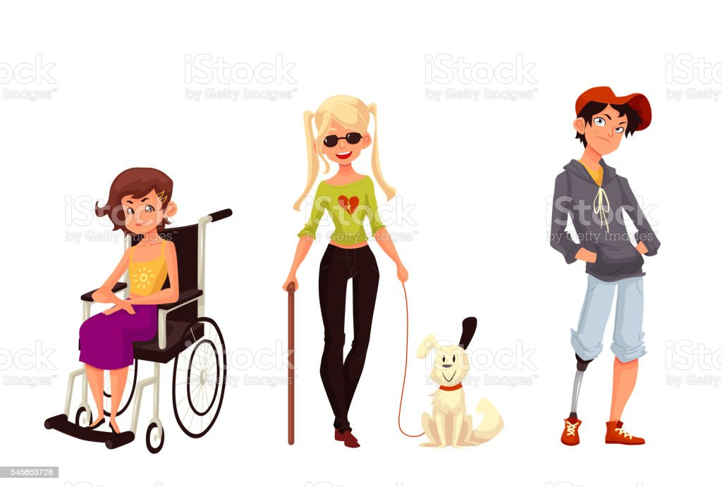 Group of disabled children, wheelchair blind prothesis vector art illustration