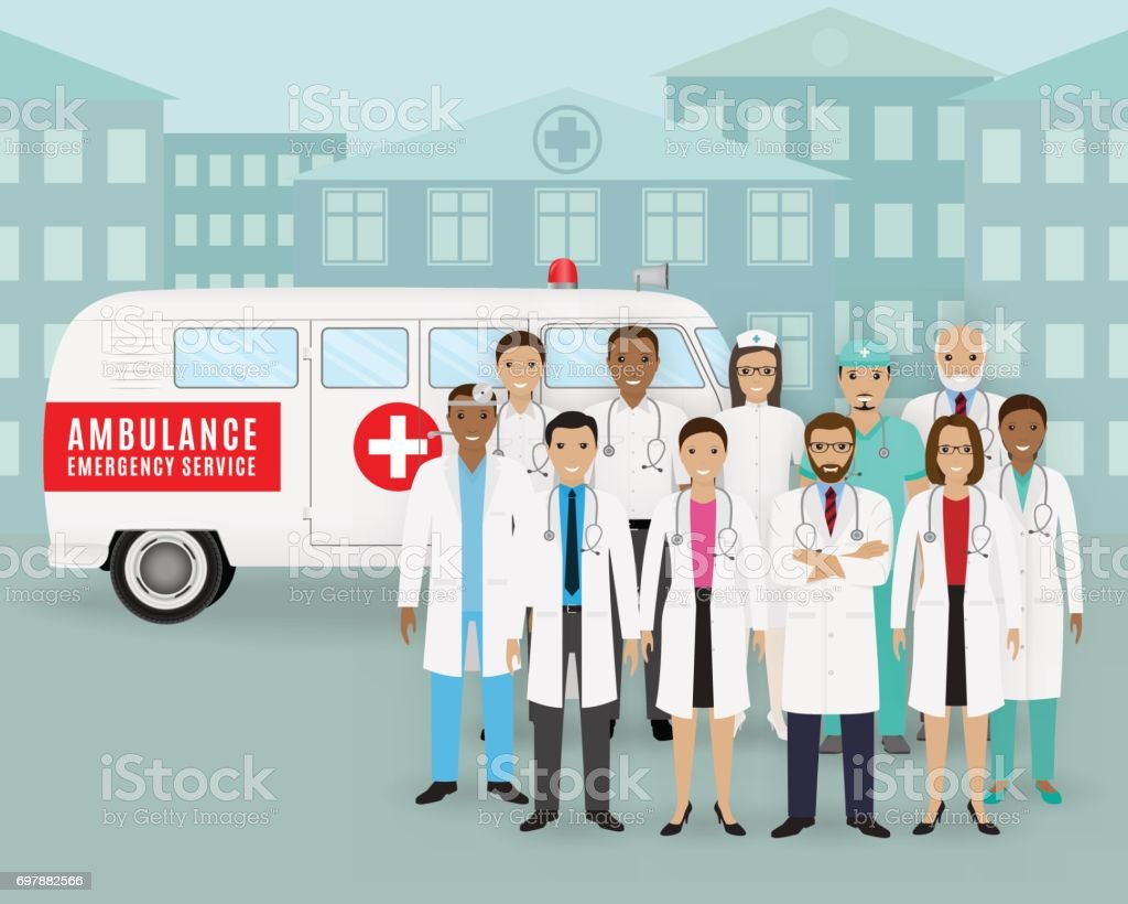 Group of doctors and nurses and retro ambulance car on cityscape background. Emergency medical service employee. vector art illustration