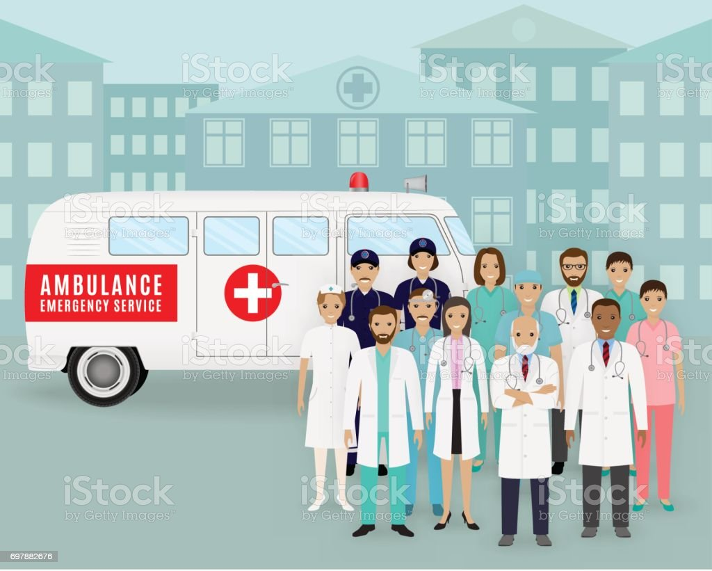 Group of doctors and nurses on retro ambulance car background. Emergency medical service employee. vector art illustration