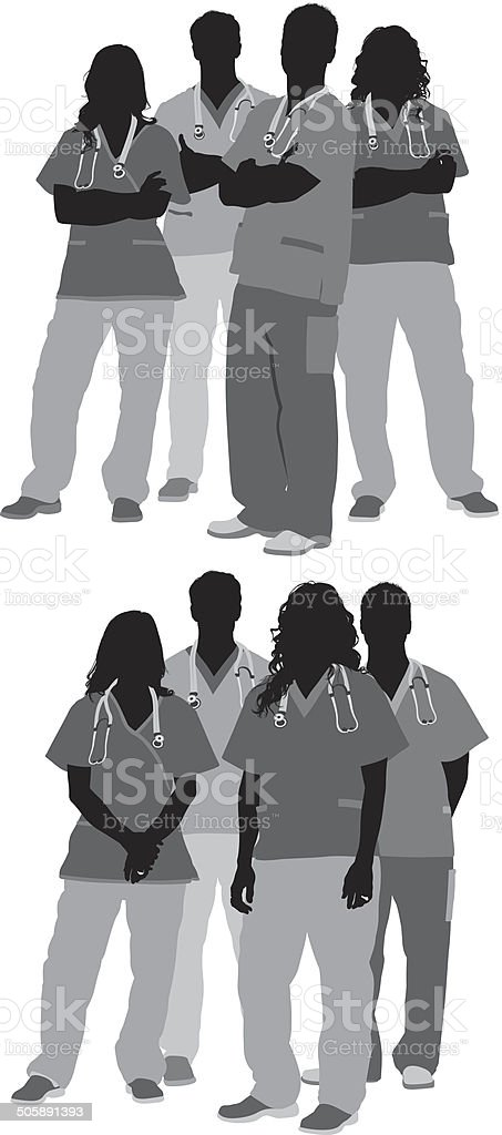 Group of doctors vector art illustration