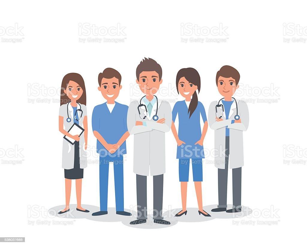 Group of doctors vector art illustration