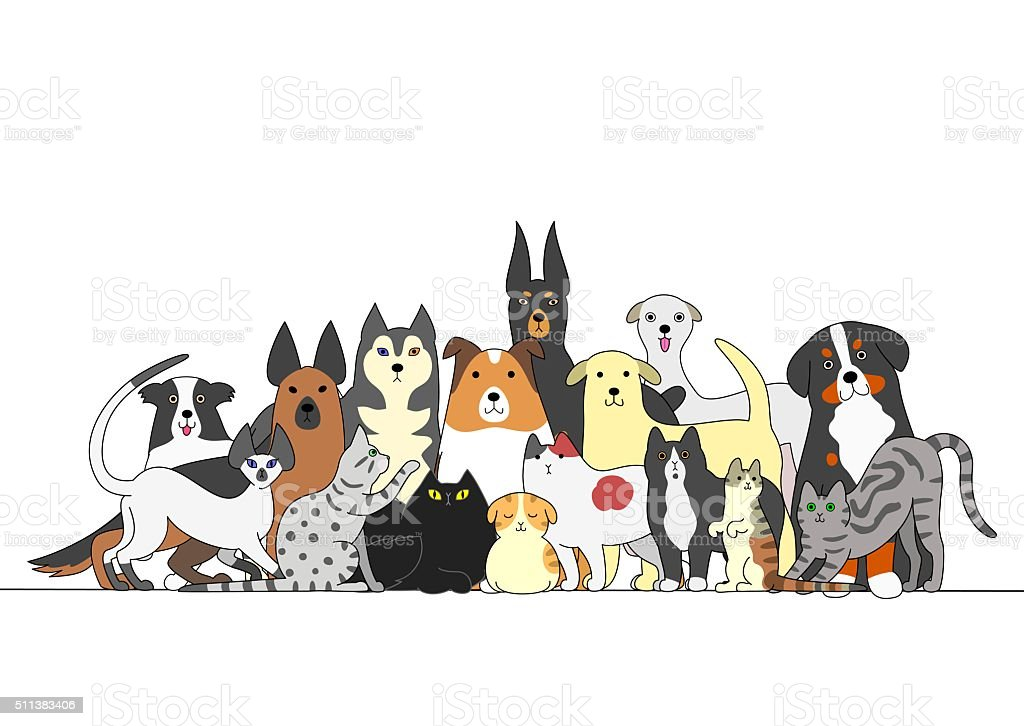Group of dogs and cats vector art illustration